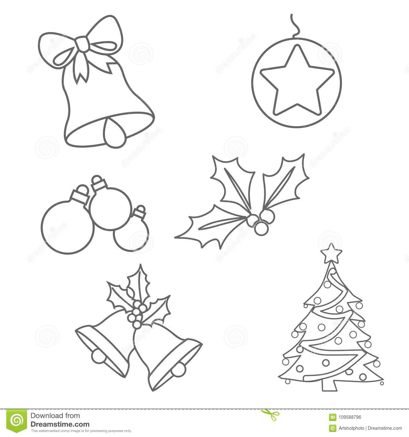 Christmas Ornaments Colouring Pages Stock Illustration
