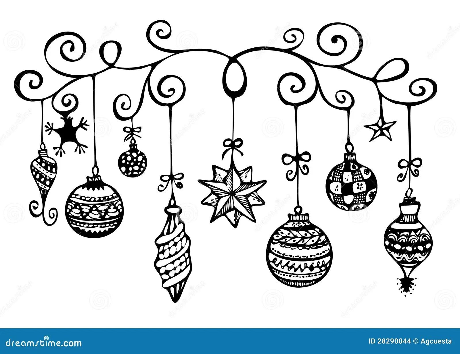 Christmas Ornaments Sketch Stock Illustration
