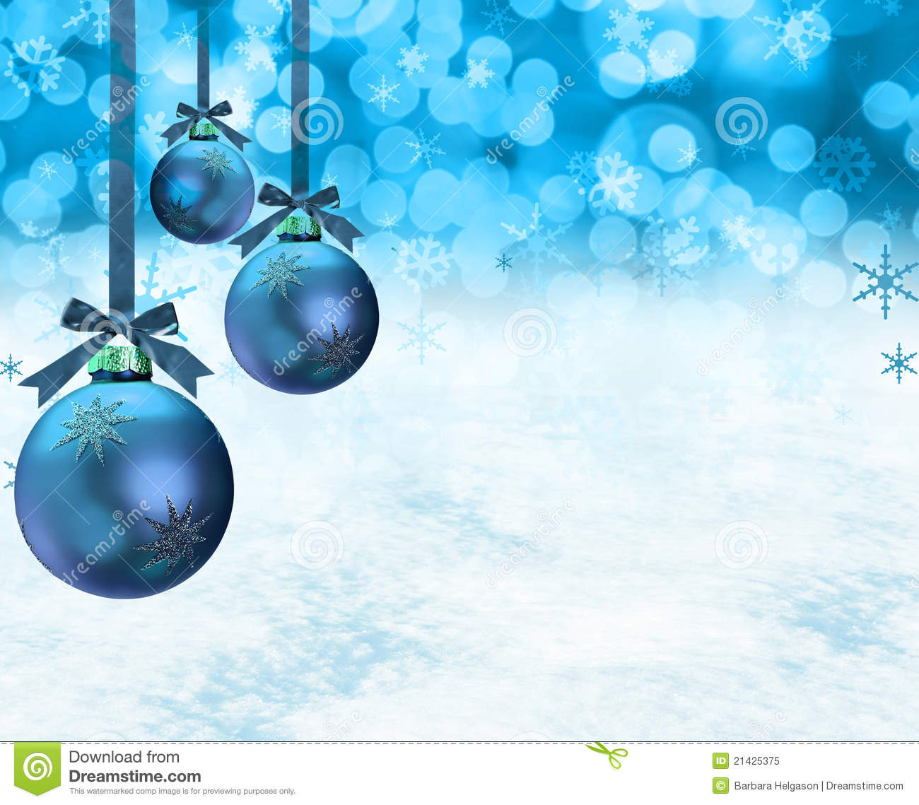 christmas ornaments snow scene royalty free stock photo image