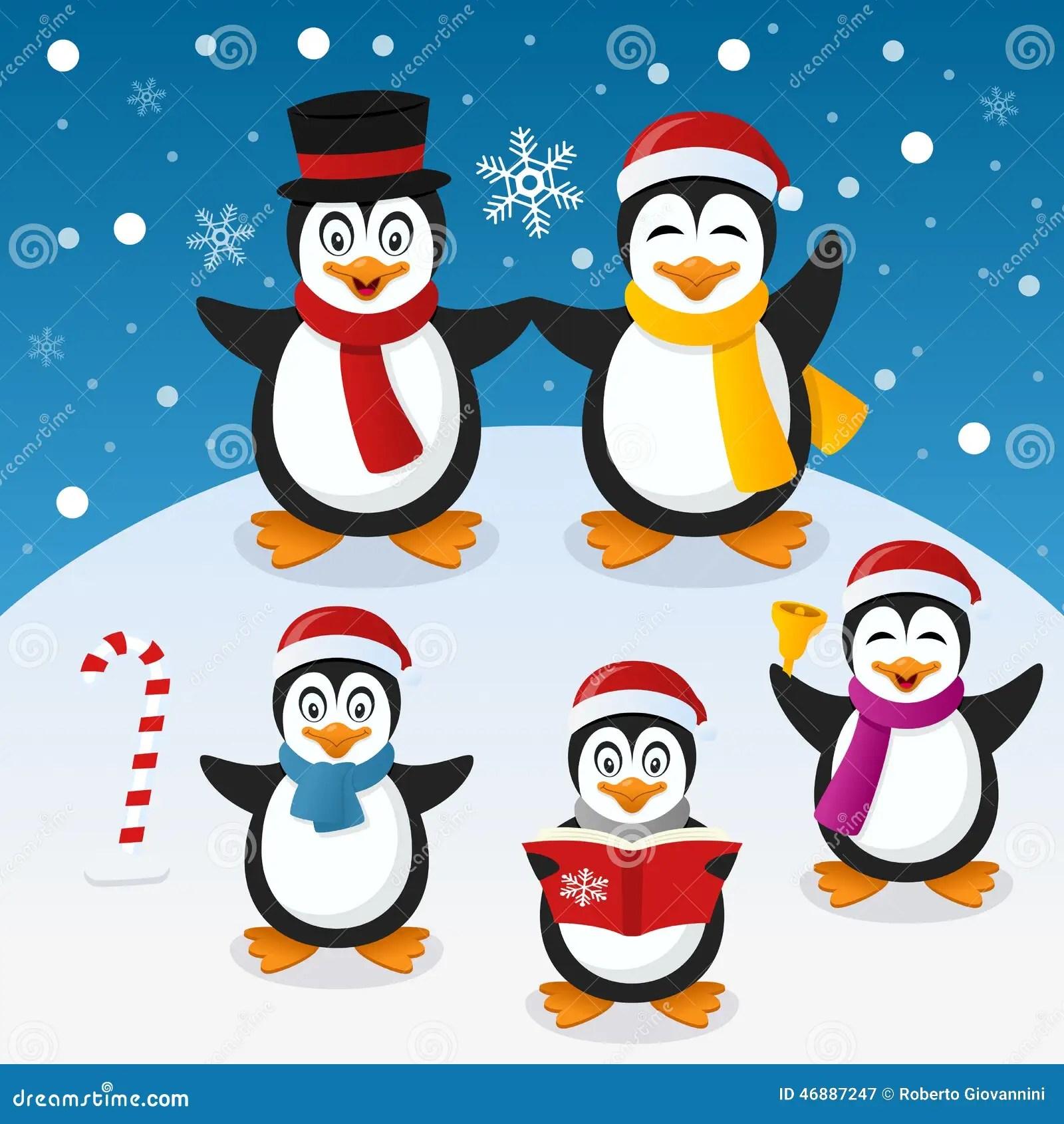 Christmas Penguins Cartoon Vector