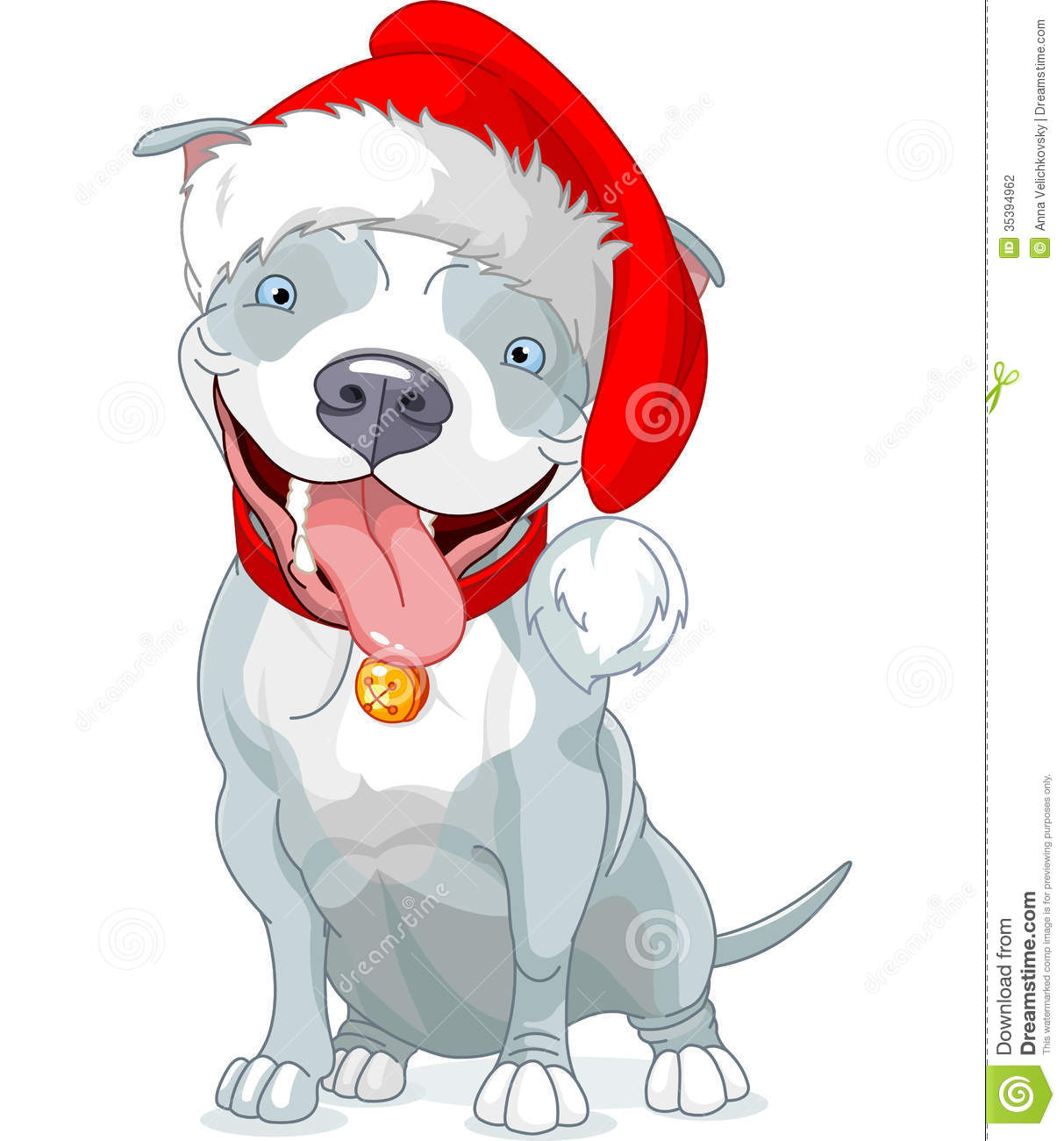 Christmas Pit Bull Dog Stock Vector Illustration Of Pets