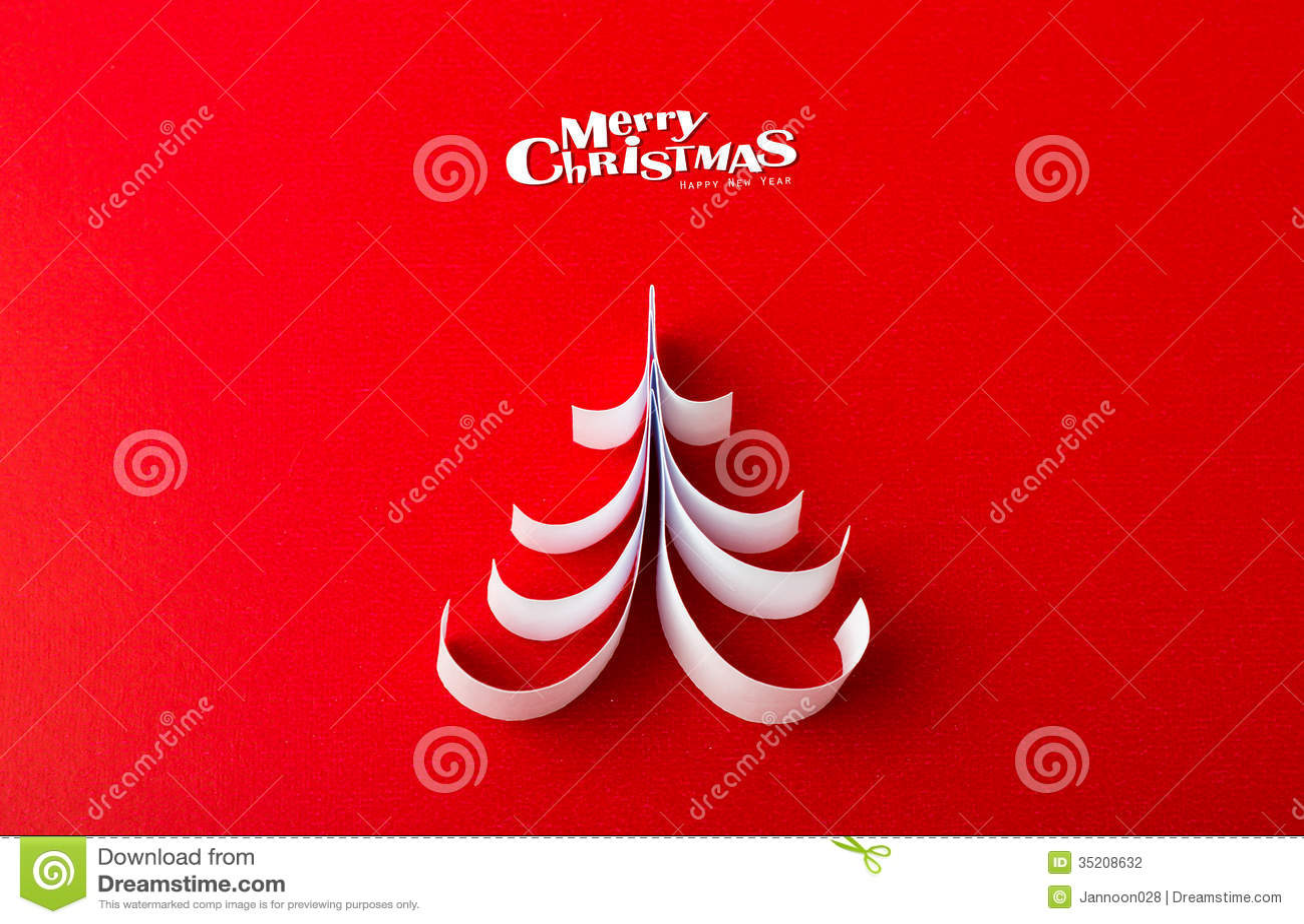 Christmas Postcard With True Paper Christmas Tree Stock