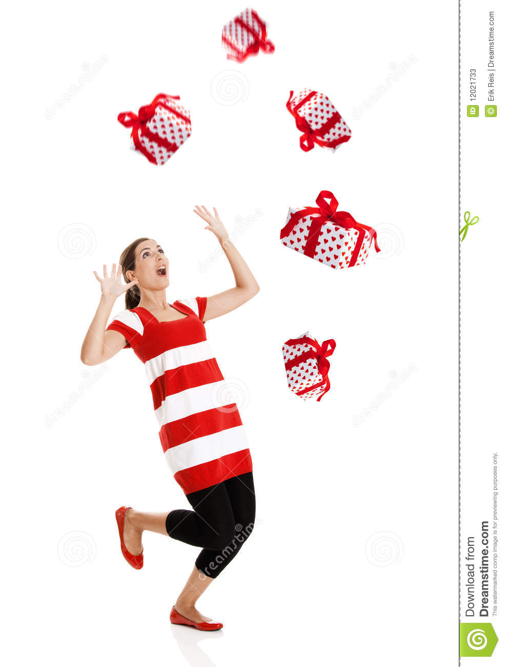 Christmas Presents Falling From The Sky Stock Photos