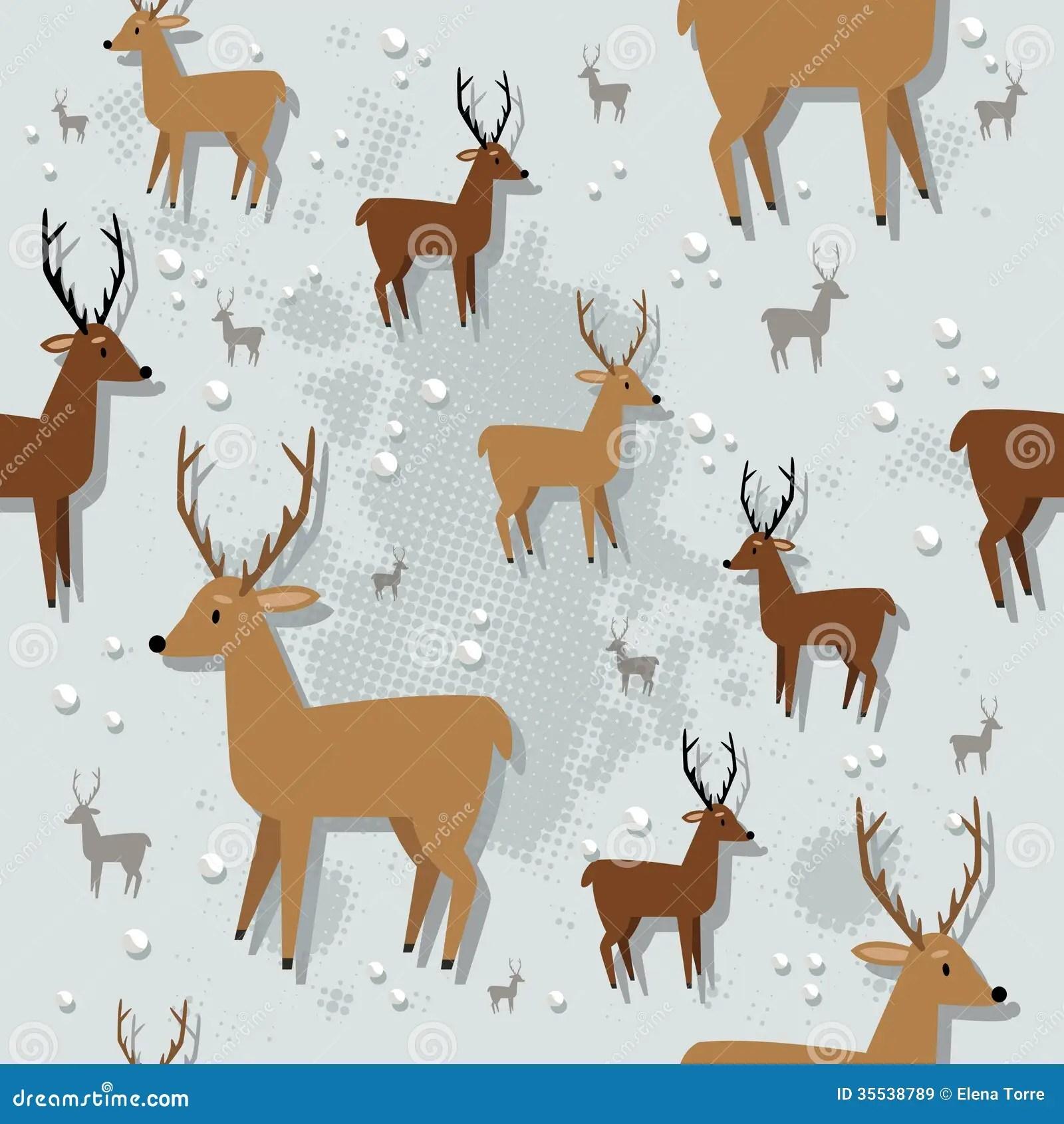 Christmas Reindeer Seamless Pattern Stock Vector