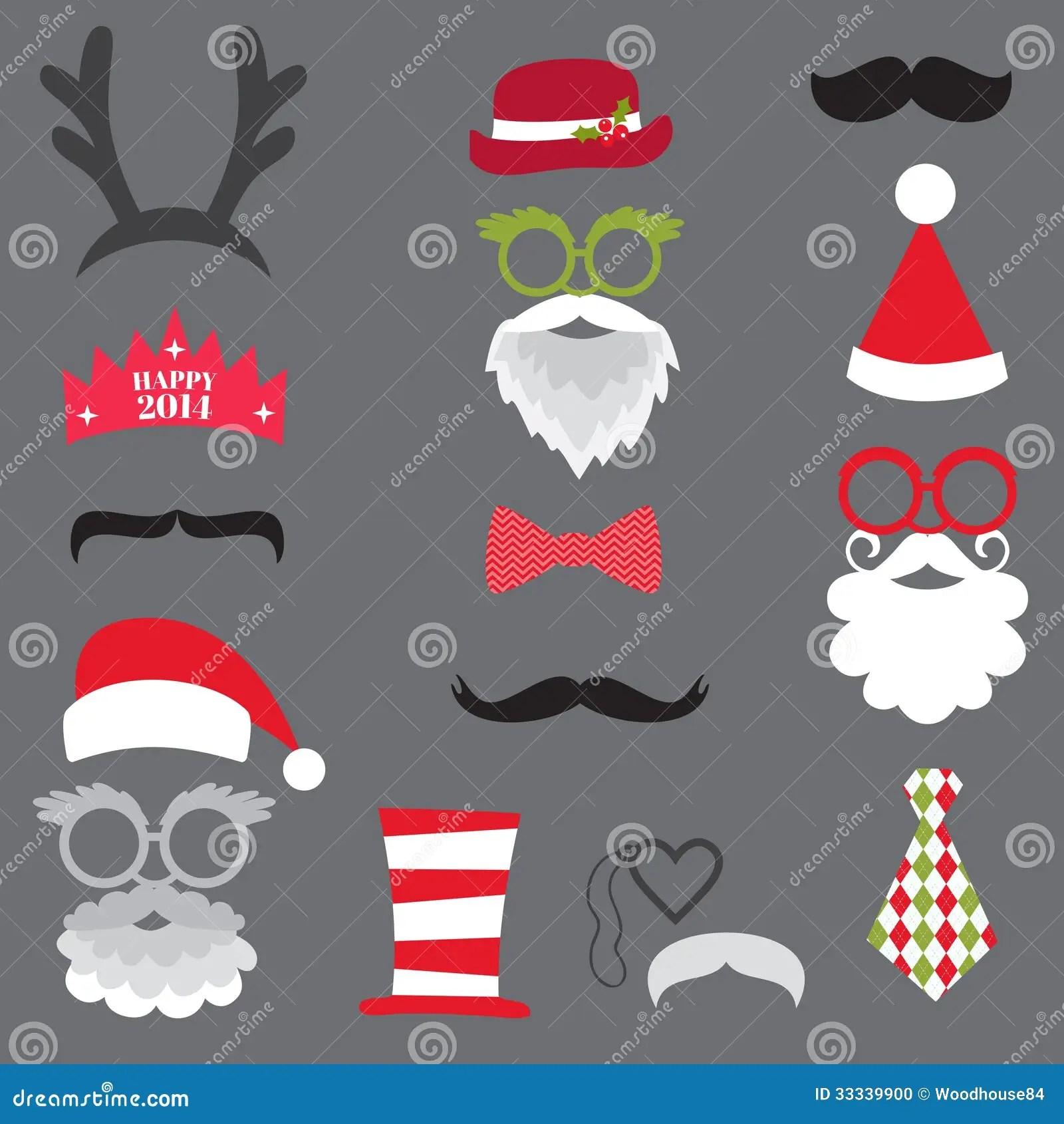 Christmas Retro Party Set Glasses Hats Lips M Stock