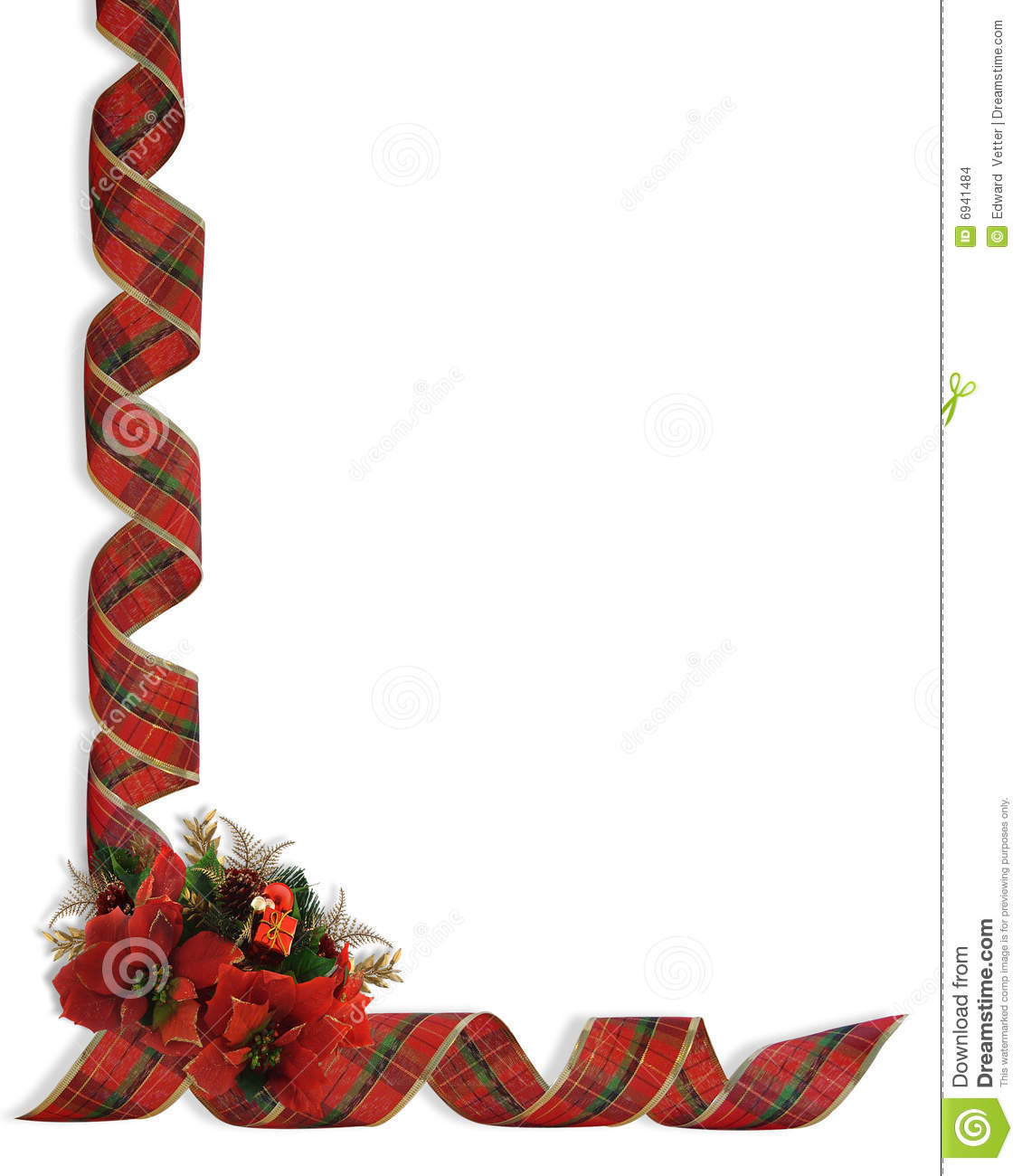 Christmas Ribbons And Flowers Corner Stock Images Image