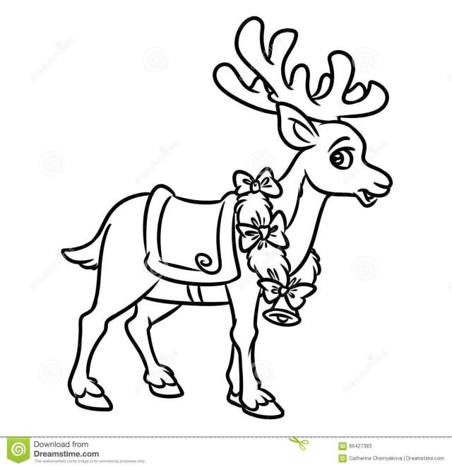 Christmas Santa Reindeer Coloring Pages Stock Illustration