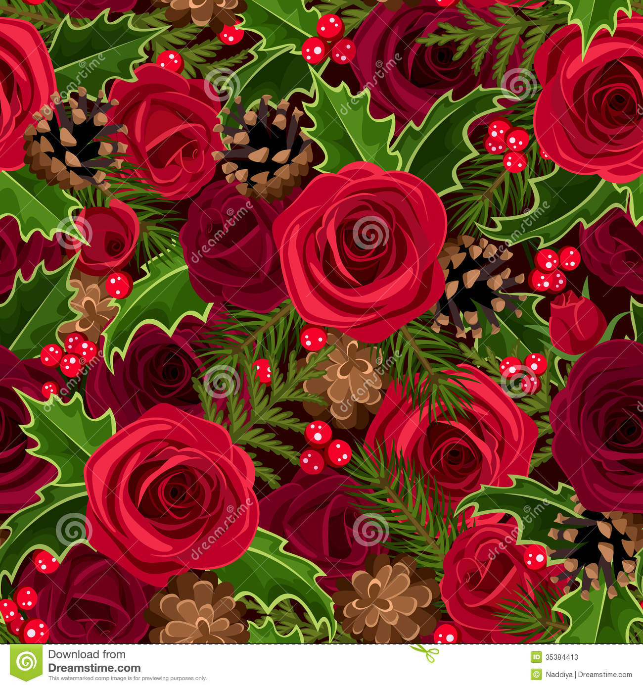 Christmas Seamless Background With Roses And Holly Stock