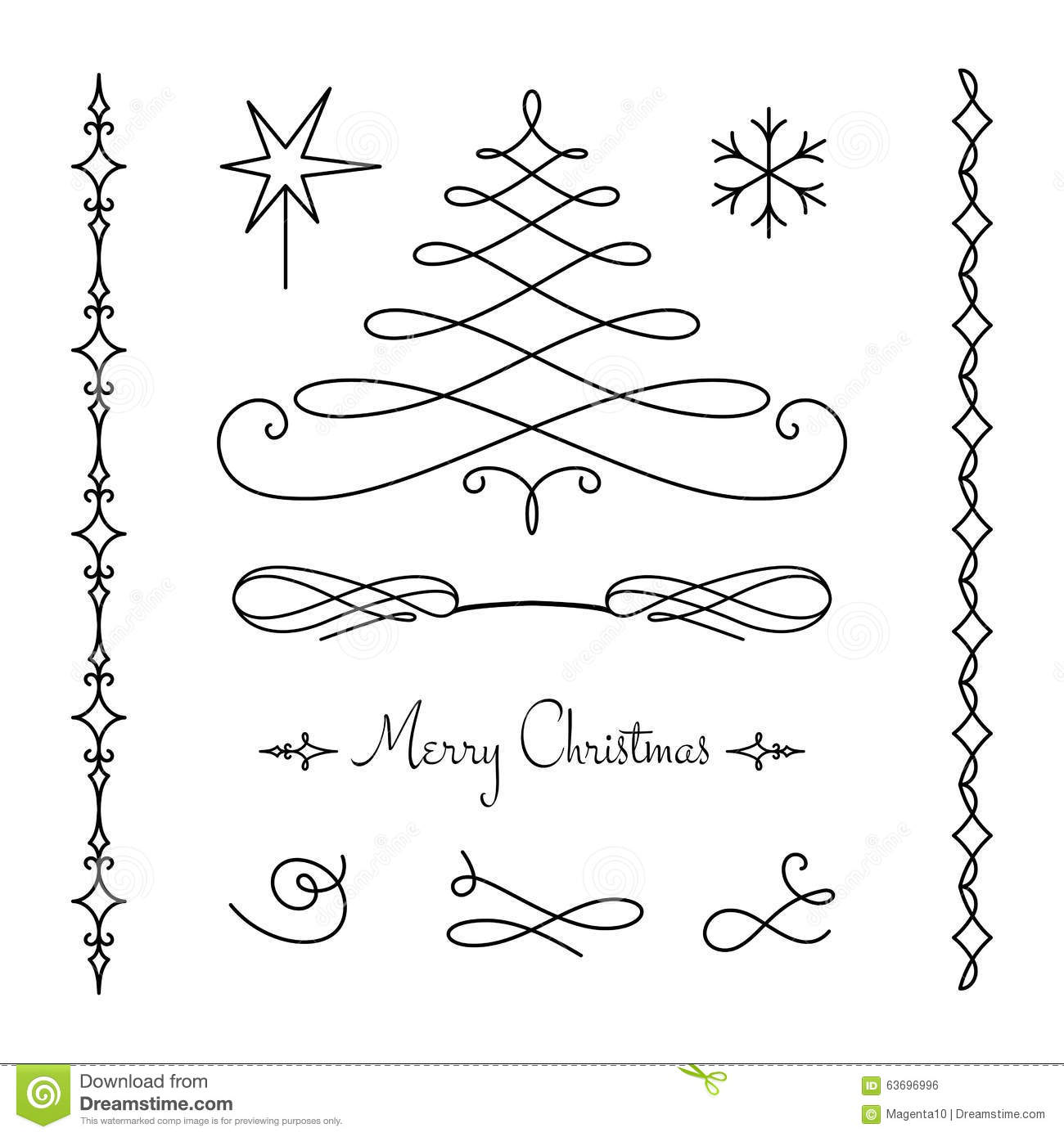 Christmas Set Of Calligraphic Decorative Elements Stock