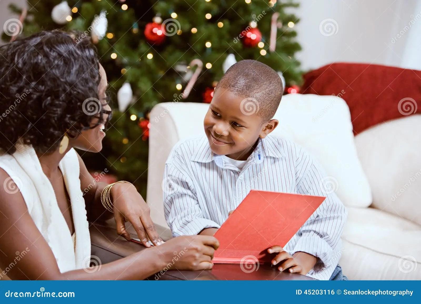 Christmas Sharing A Christmas Story Book Stock Photo