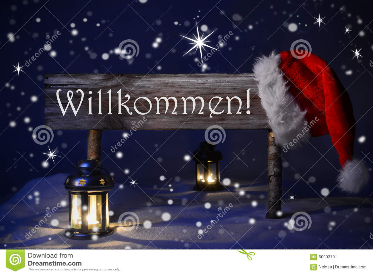 Christmas Sign Candlelight Santa Hat Willkommen Means