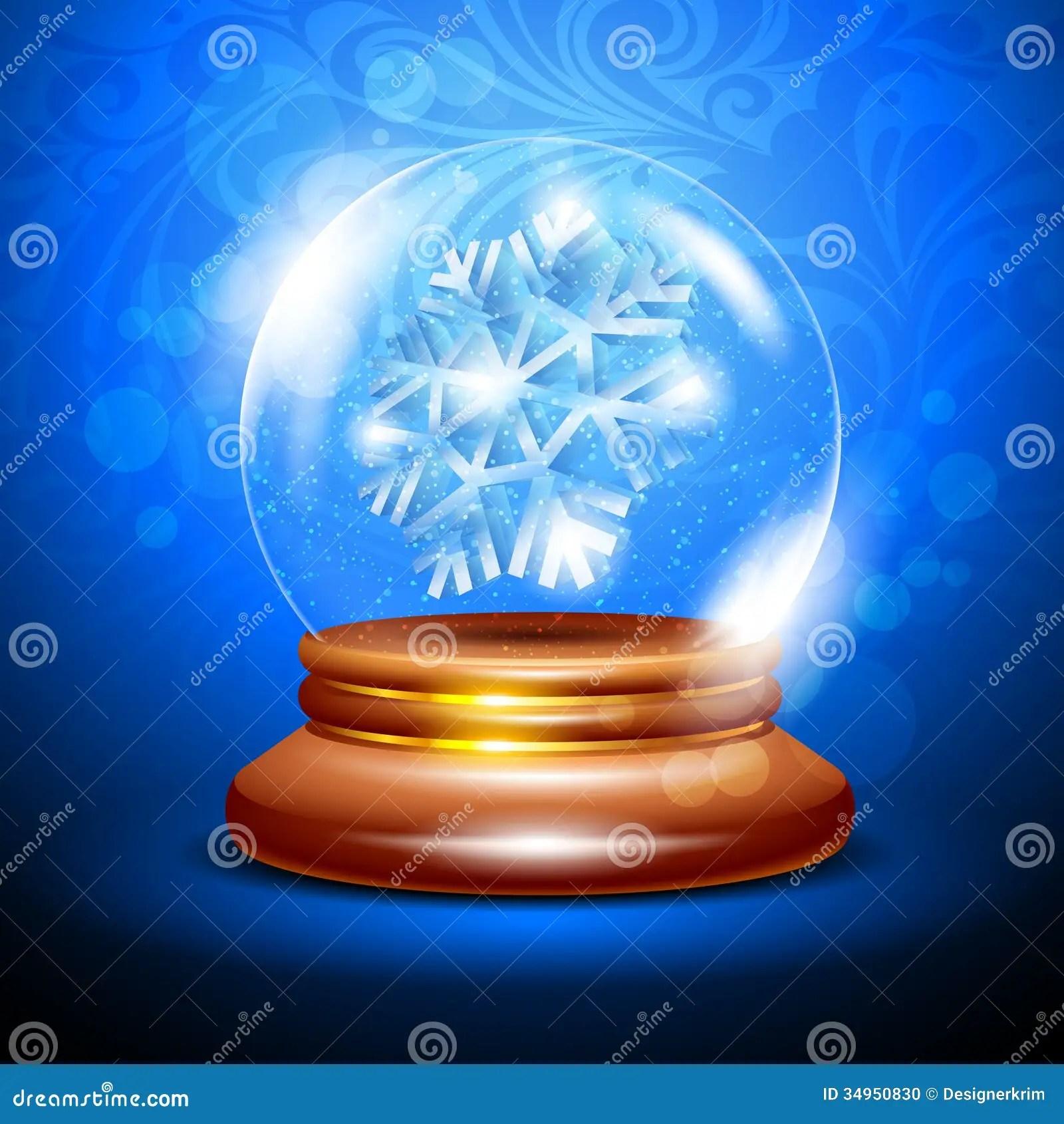 Christmas Snow Globe With A Snowflake Stock Photo Image