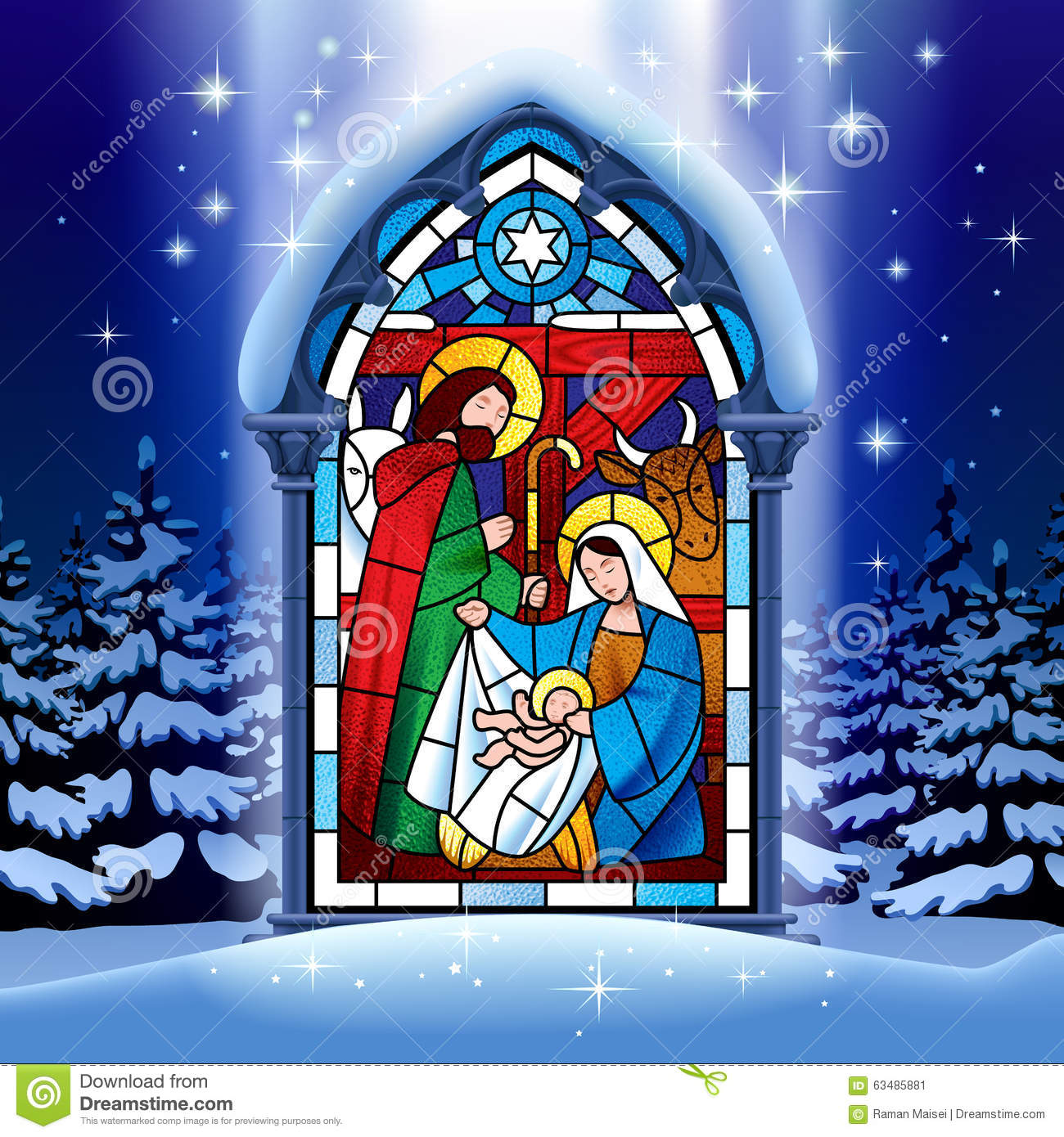 Christmas Stained Glass Window In Winter Forest Stock