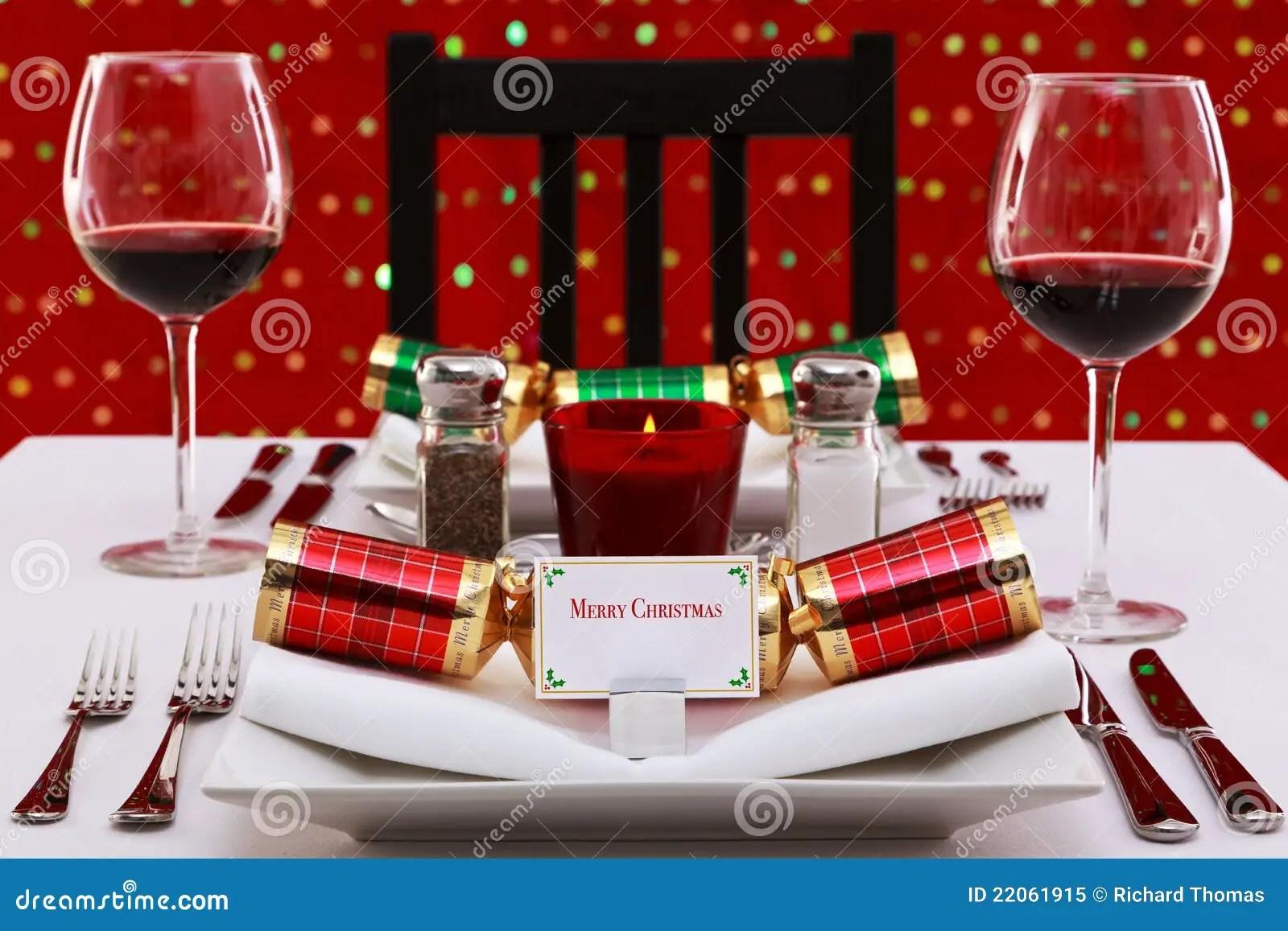 Christmas Table Place Setting Horizontal Stock Image