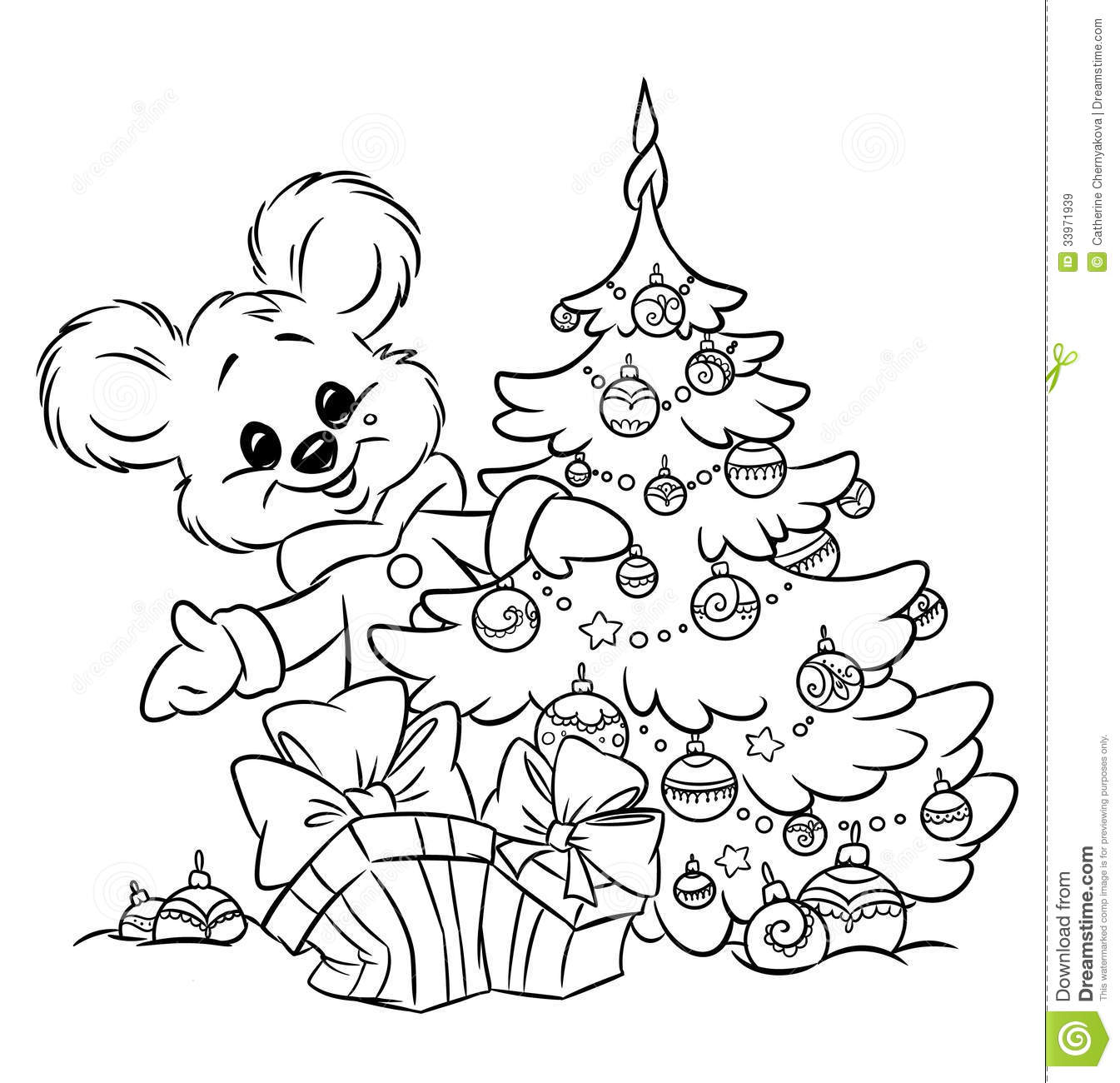 christmas teddy bear tree ornaments gift colorin royalty free stock