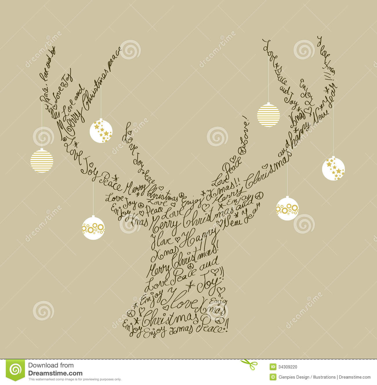 Christmas Text Shape Reindeer Bauble Composition Stock