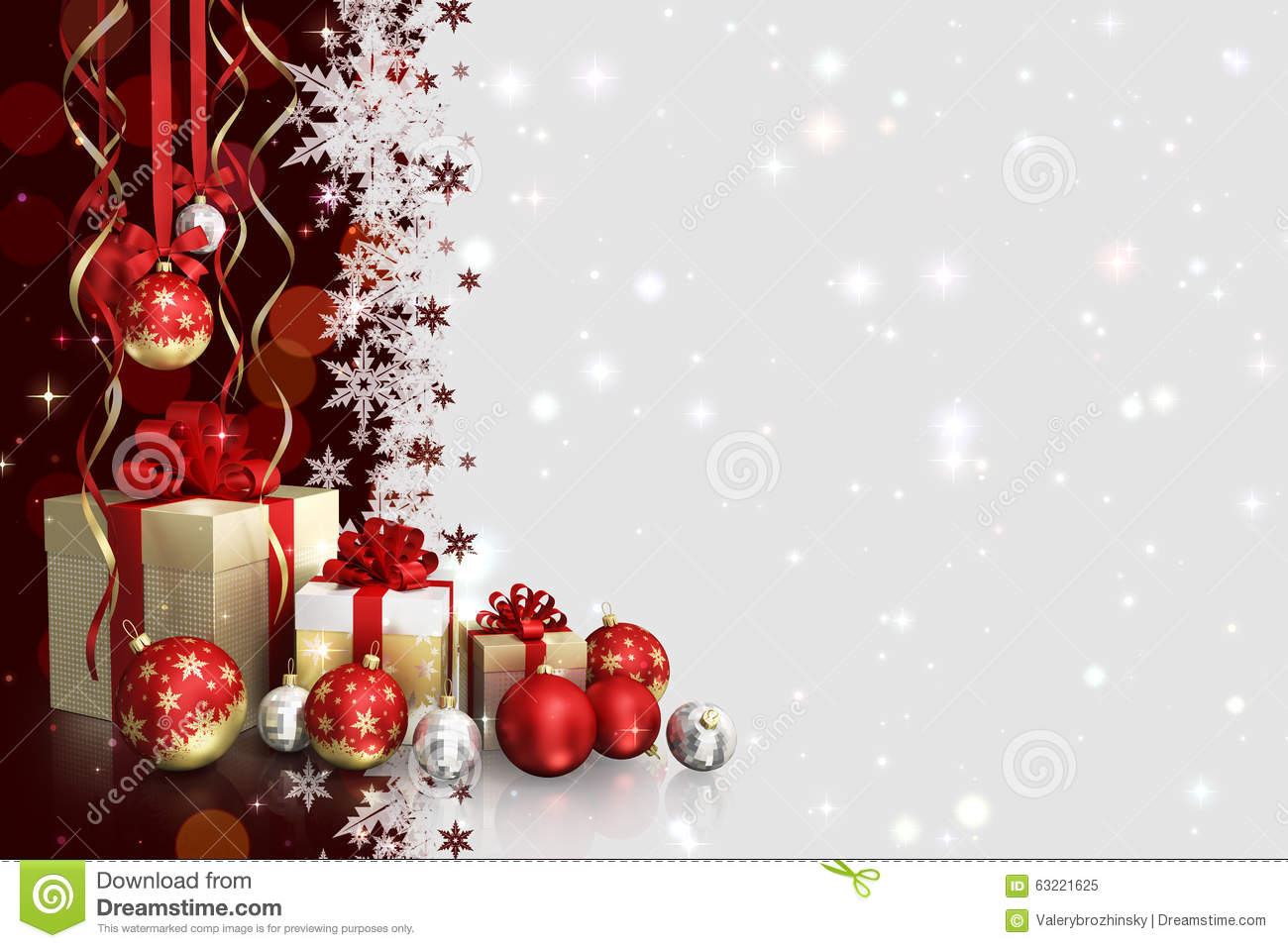 Christmas Theme With Gift Boxes And Glass Balls And Free