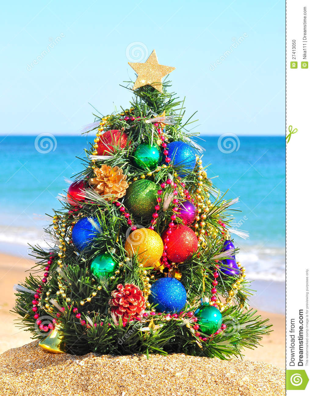 Christmas Tree In The Beach Stock Photo Image 27413050