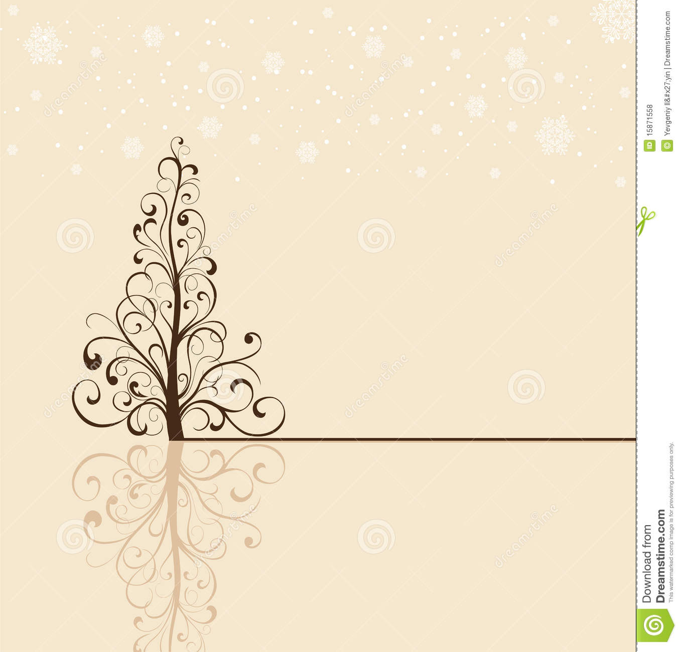 Christmas Tree On Beige Background Stock Vector Image