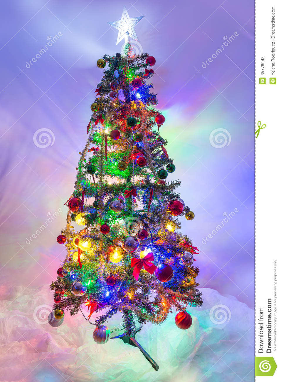 Christmas Tree With Lights On Stock Photos Image 35778943