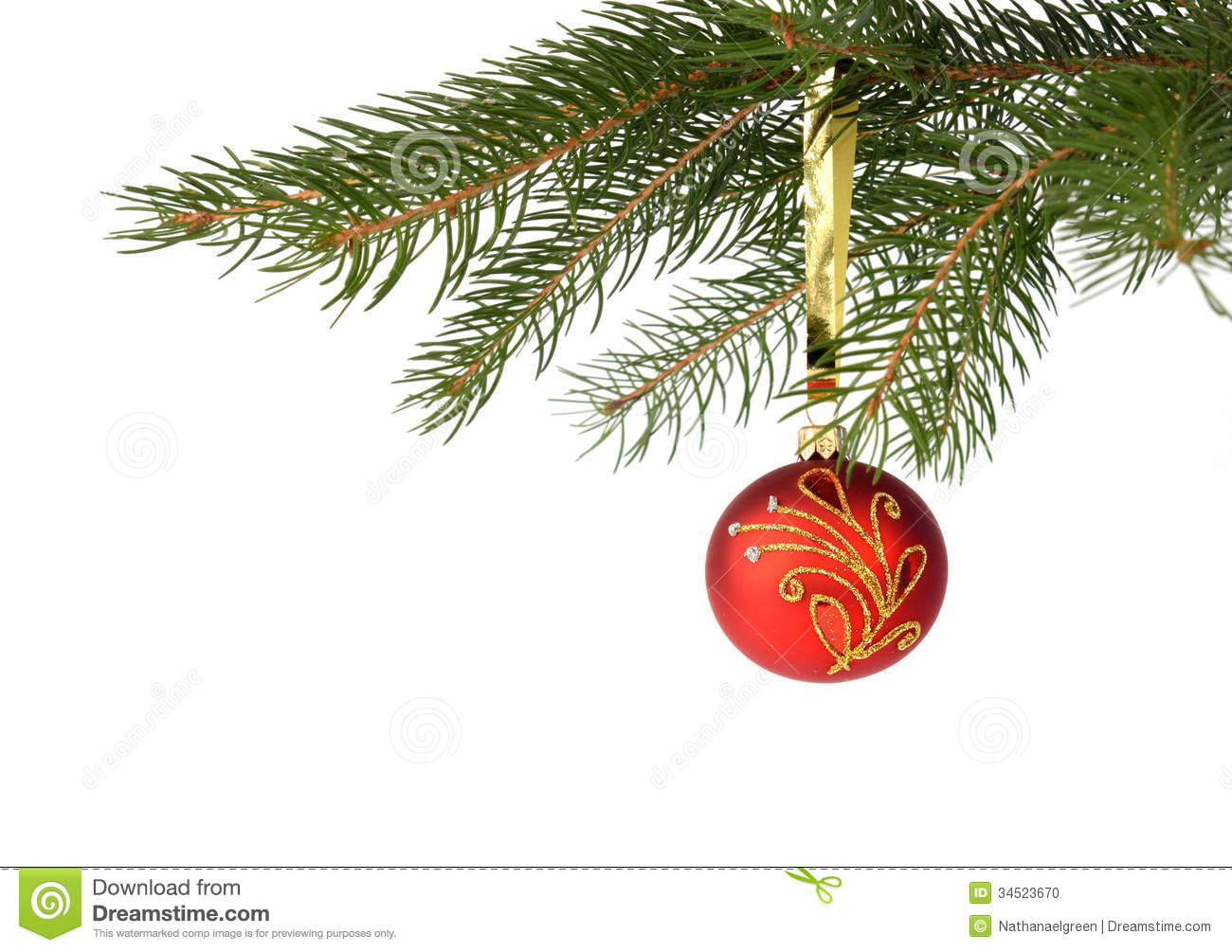 Christmas Tree With Red Bauble Isolated On White Stock