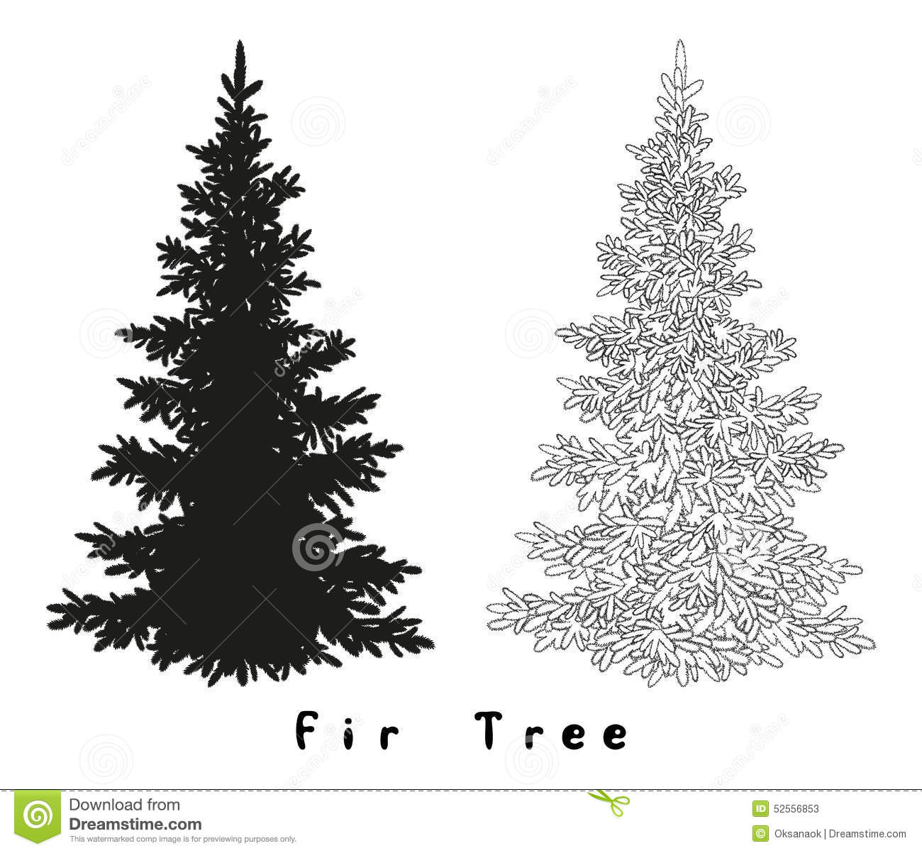 Christmas Tree Silhouette Contours And Stock Vector