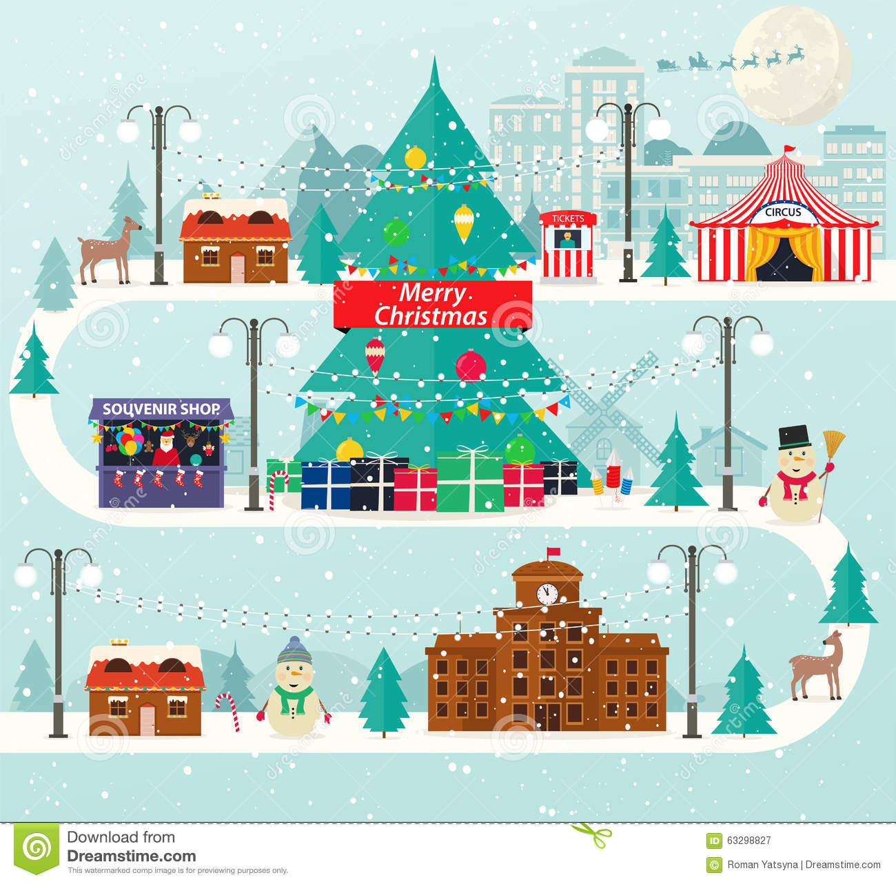 Christmas Urban And Rural Landscape In Flat Design City Winter Life With Modern Icons Of Urban