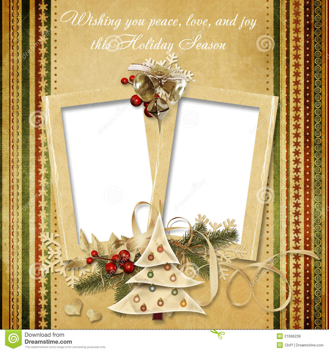 Christmas Vintage Greeting Frame With The Wishes Royalty Free Stock Photos Image 21696238