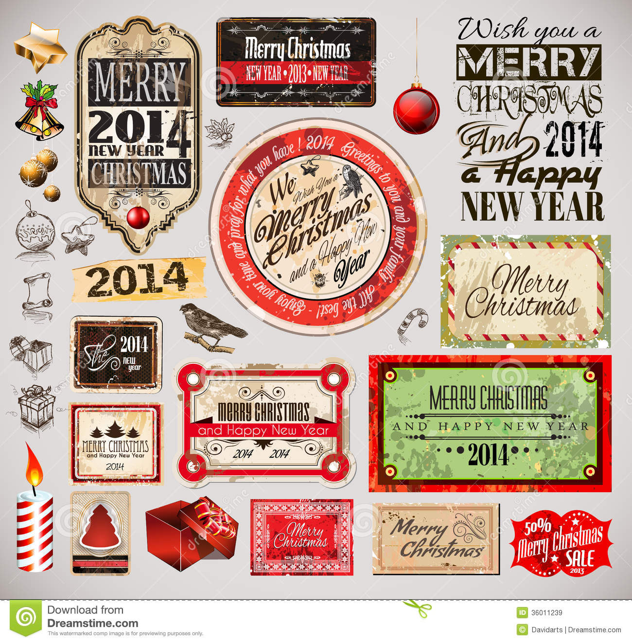 Christmas 2014 Vintage Labels And Typo Collection Royalty