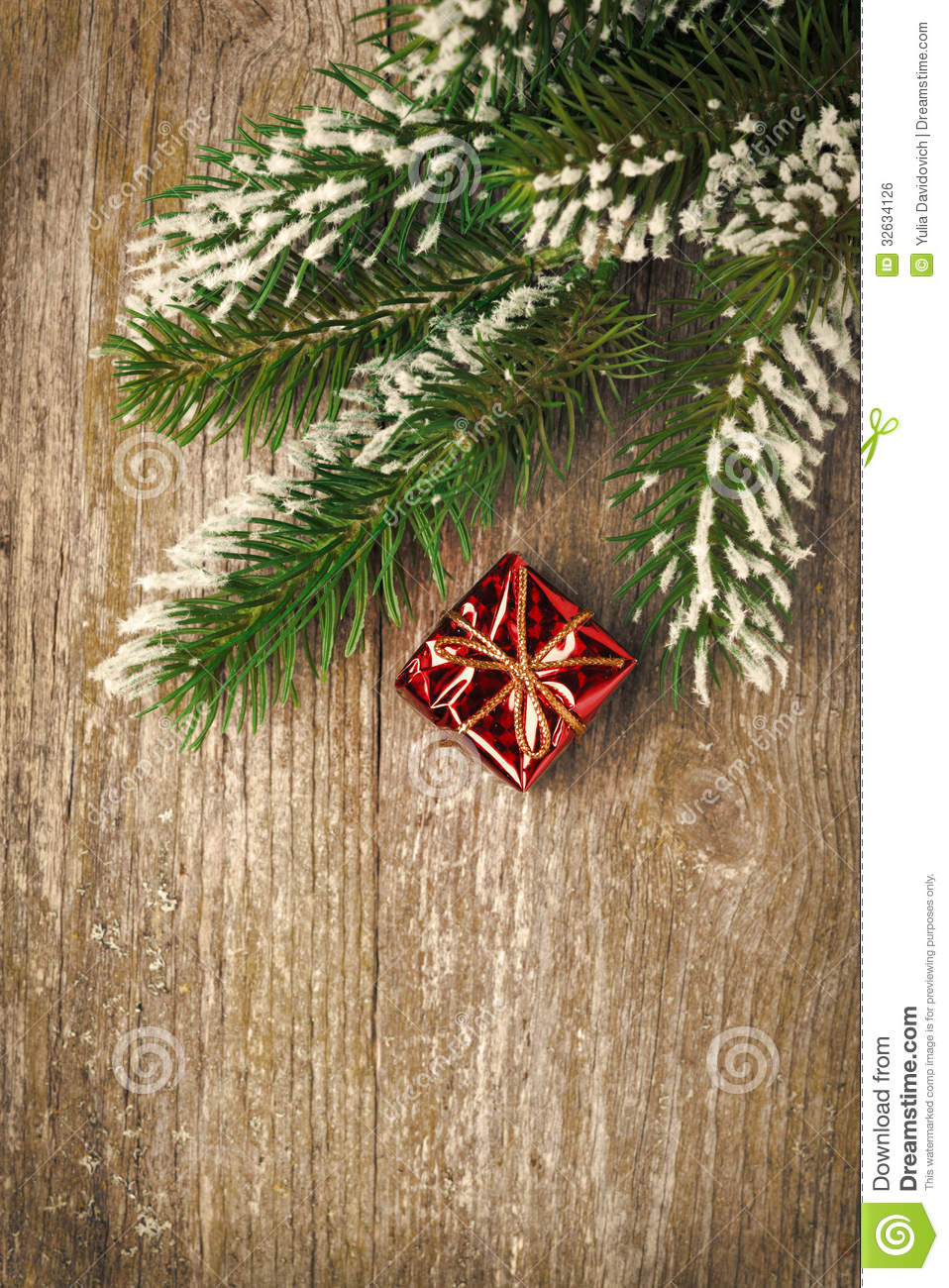Christmas Vintage Wooden Background Spruce Branches And