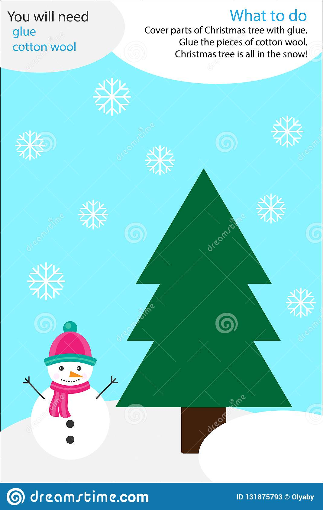 Christmas Winter Craft Activity Snow And Tree Education