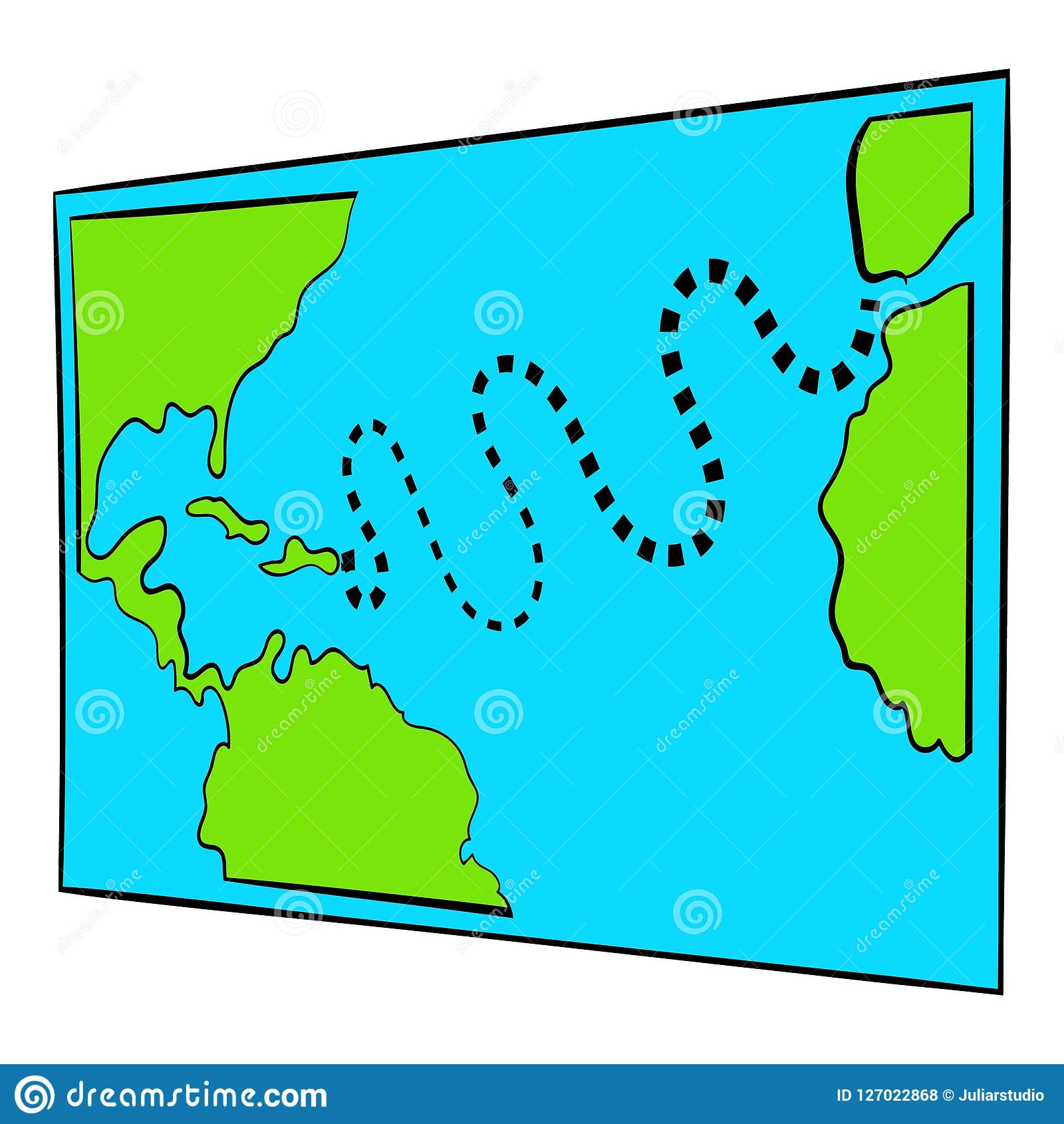 Christopher Columbus First Voyage Map Icon Stock