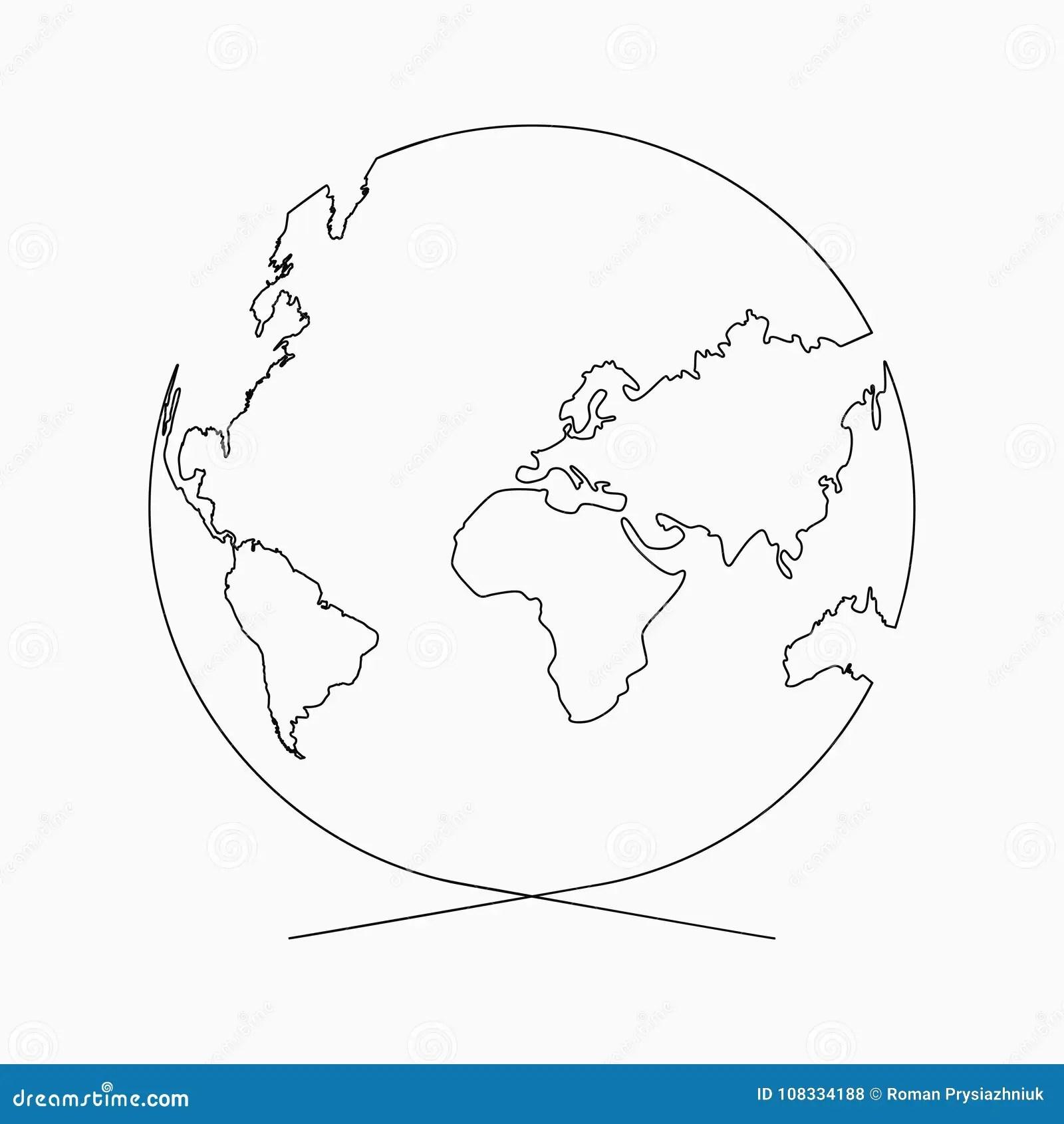 Ci G Ej Linii Kula Ziemska Planeta Ziemia Jeden Kreskowy