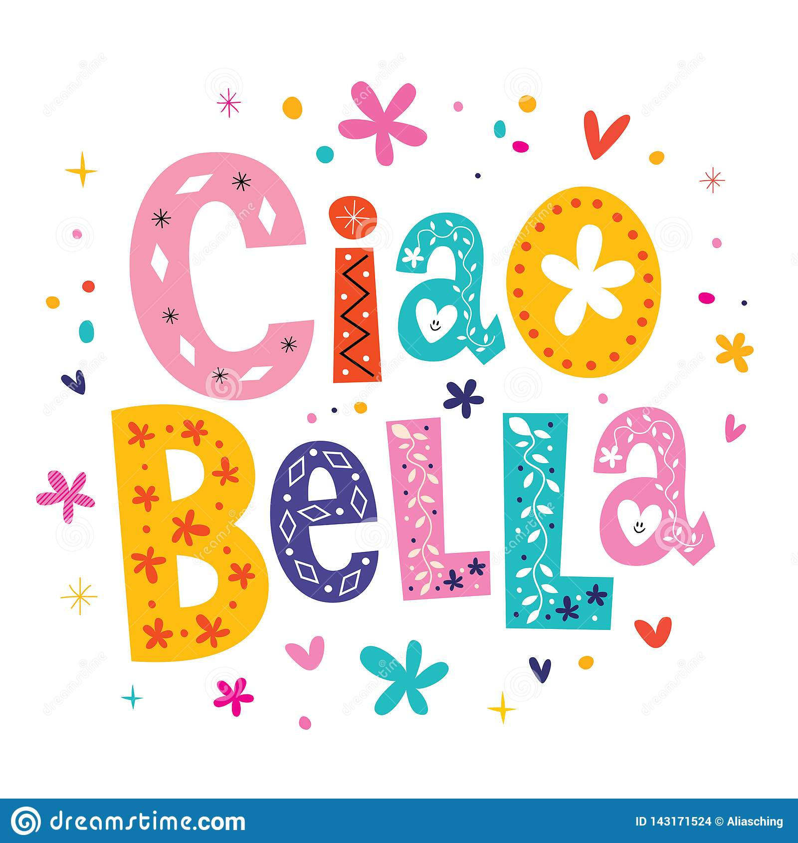 https fr dreamstime com ciao bella hello beautiful en italien conception d inscription unique image143171524