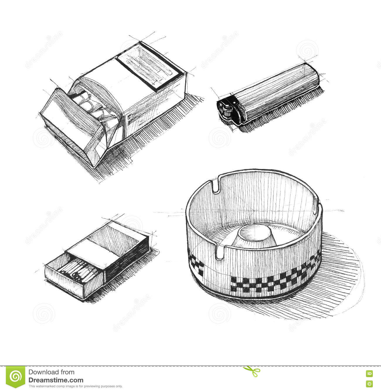 Ashtray Engraving Icon Cartoon Vector