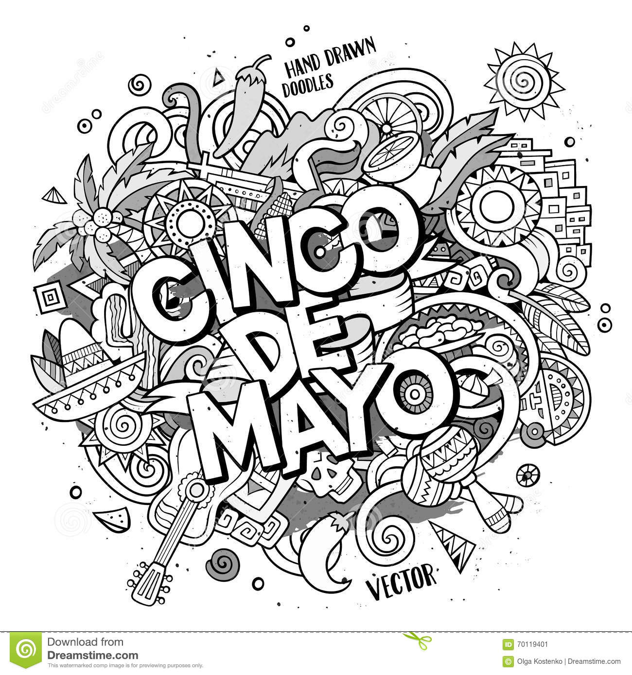 Cinco De Mayo Cartoon Vector Hand Drawn Doodle