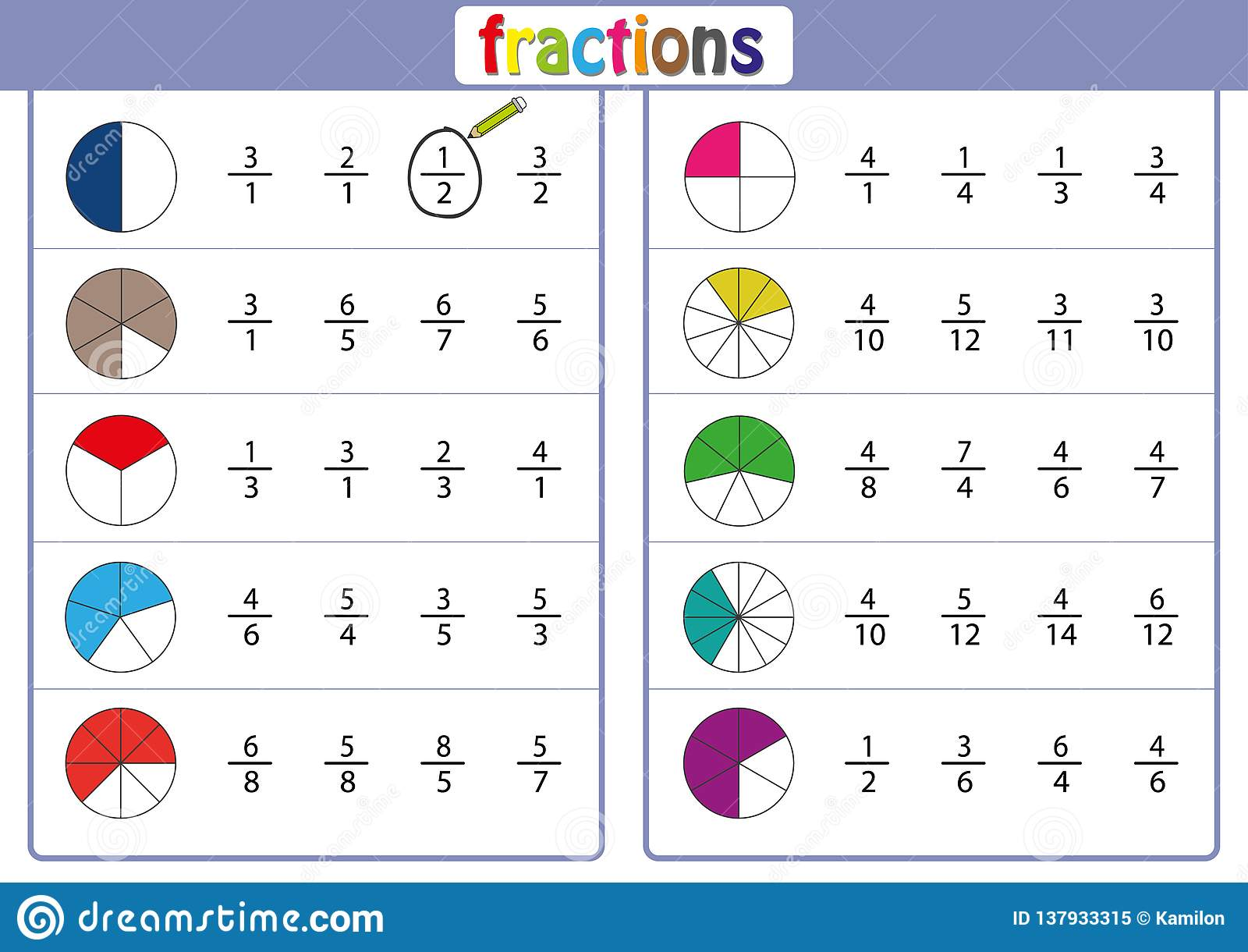 Circle The Correct Fraction Mathematics Math Worksheet Stock Illustration