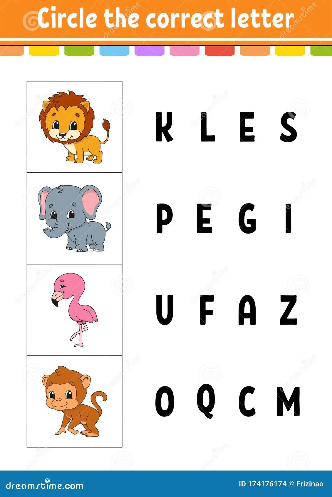 Circle The Correct Letter Flamingo Monkey Lion