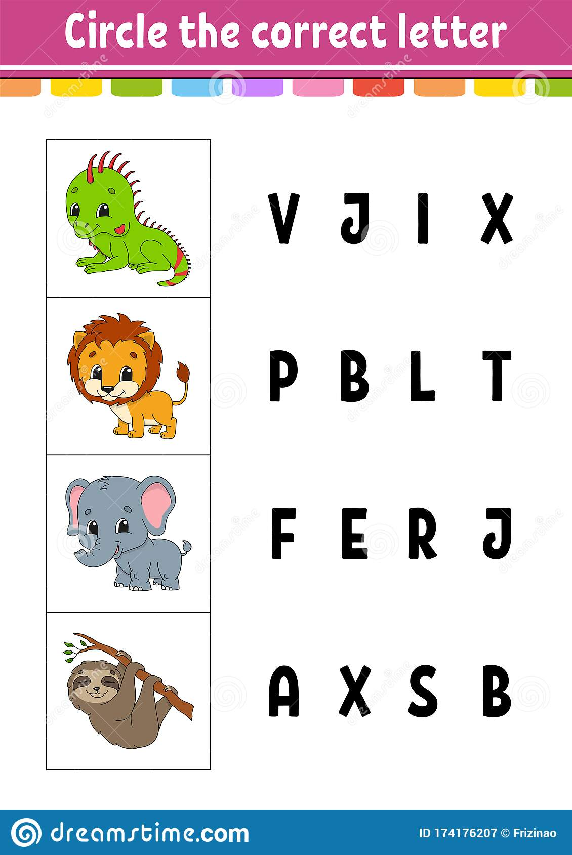 Circle The Correct Letter Lion Elephant Sloth Iguana