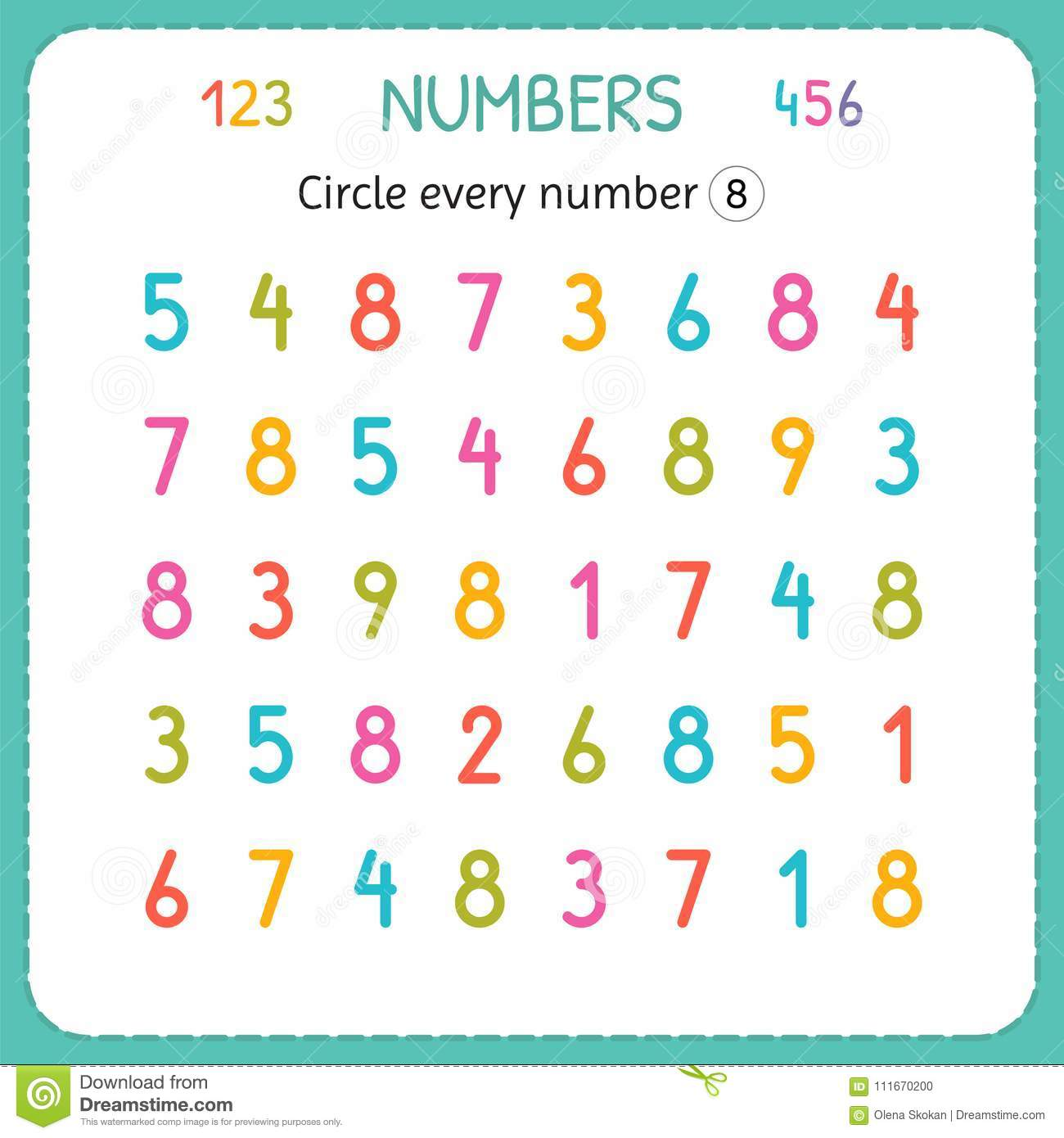 Circle Every Number Eight Numbers For Kids Worksheet For