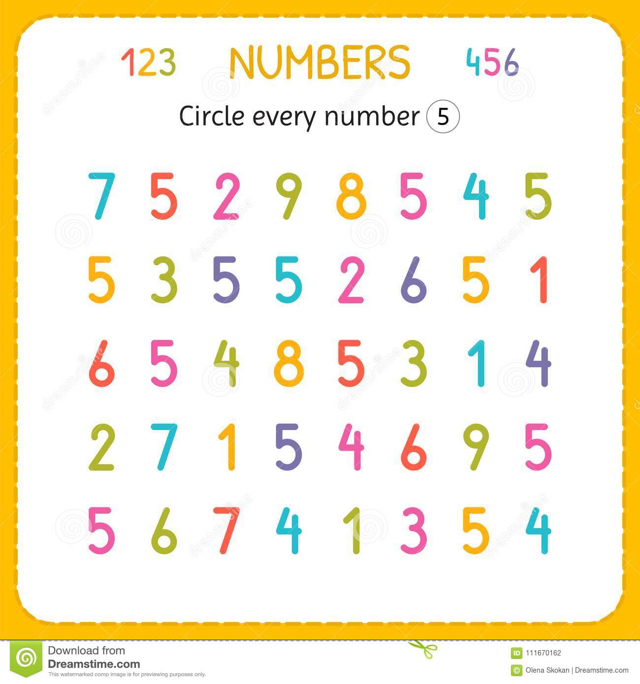 Circle Every Number Five Numbers For Kids Worksheet For Kindergarten And Preschool Training