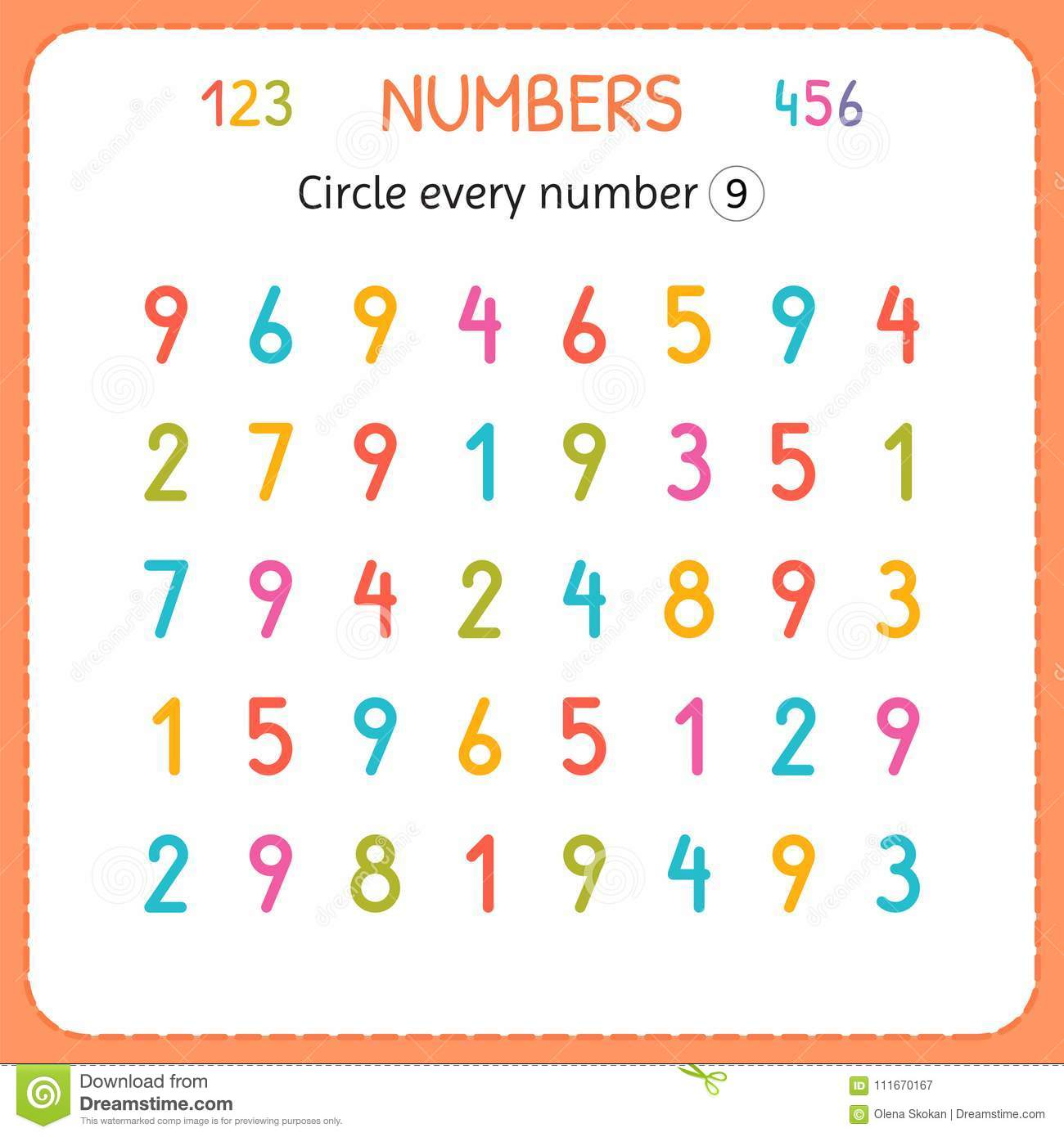 Circle Every Number Nine Numbers For Kids Worksheet For