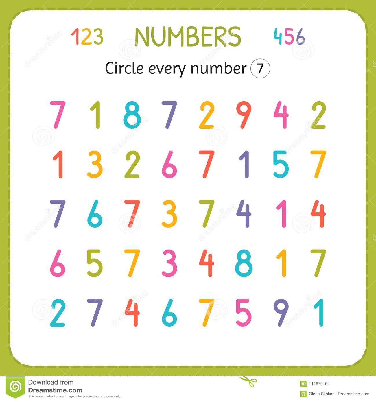 Circle Every Number Seven Numbers For Kids Worksheet For