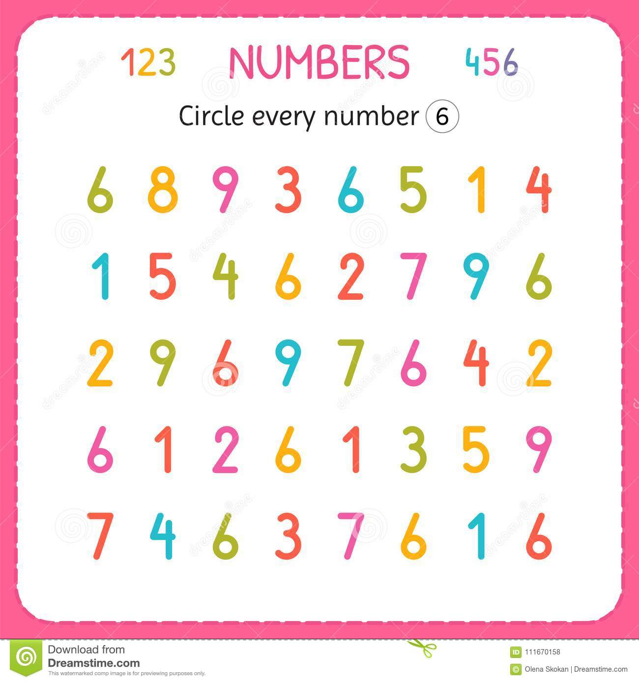 Circle Every Number Six Numbers For Kids Worksheet For Kindergarten And Preschool Training To