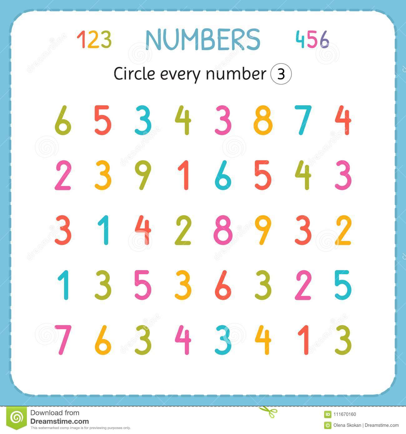 Circle Every Number Three Numbers For Kids Worksheet For