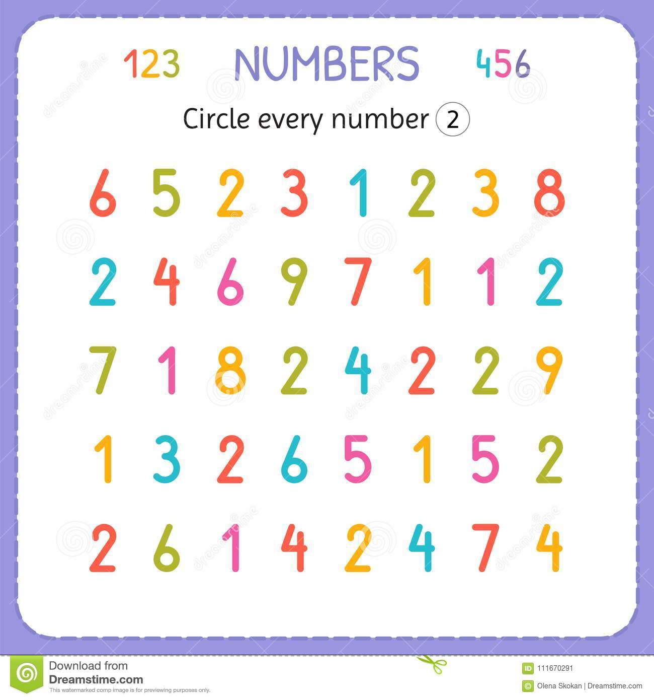 Circle Every Number Two Numbers For Kids Worksheet For