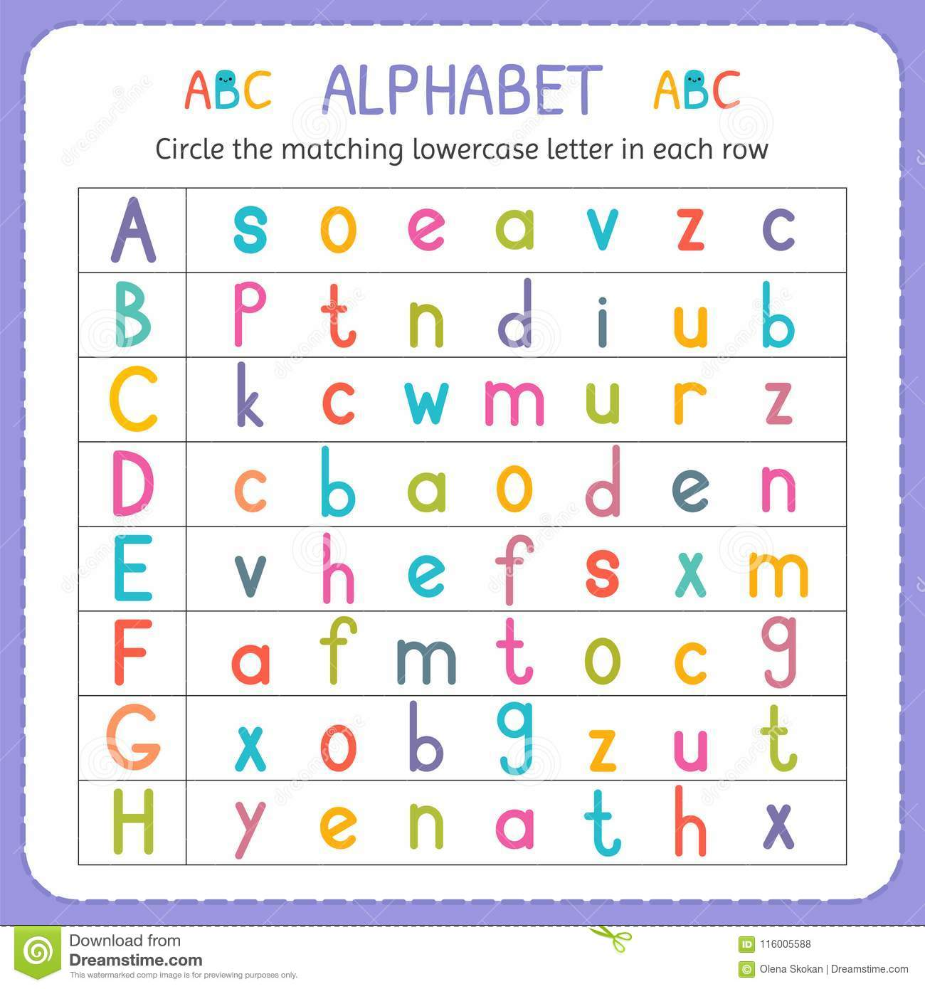 Circle The Matching Lowercase Letter In Each Row From A