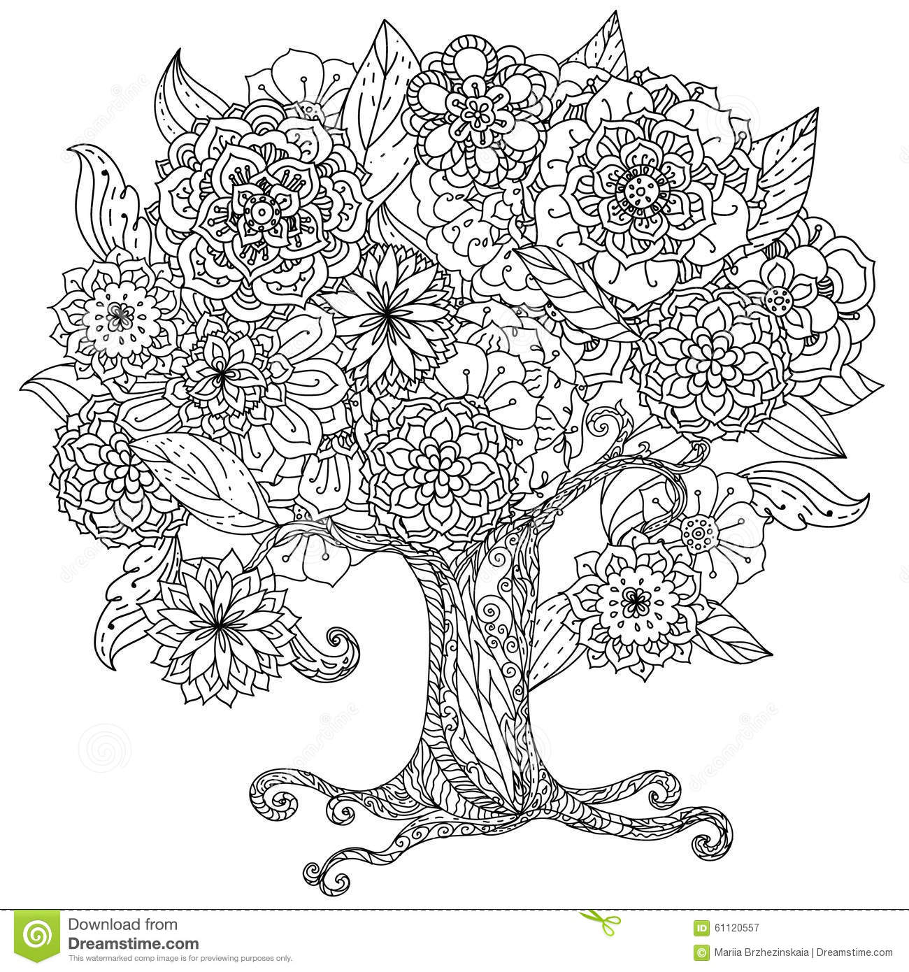 Circle Orient Floral Black And White Stock Vector