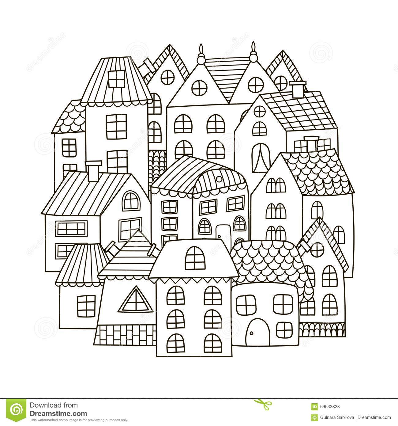 Circle Shape Pattern With Houses For Coloring Book Stock