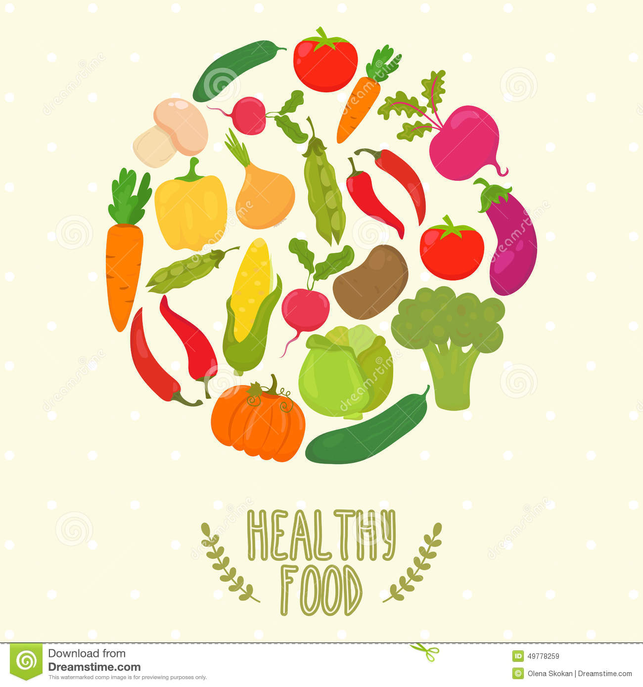 Circle From Vegetables Healthy Food Stock Vector